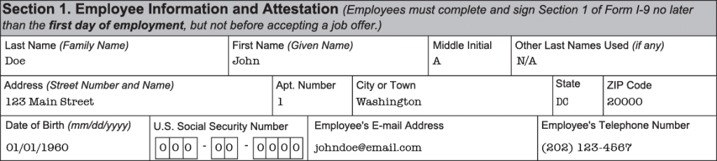 Section 1 Form I-9