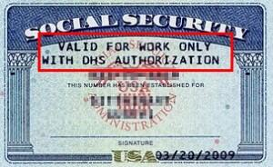 "Sample Restricted Social Security Card w/Stamp ""VALID FOR WORK ONLY WITH DHS AUTHORIZATION"""