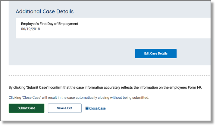 "screen capture showing ""Additional Case Details"" Submit Case"