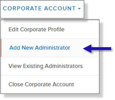 screen capture of left nav CORPORATE ACCOUNT menu showing the Add New Administrators menu option