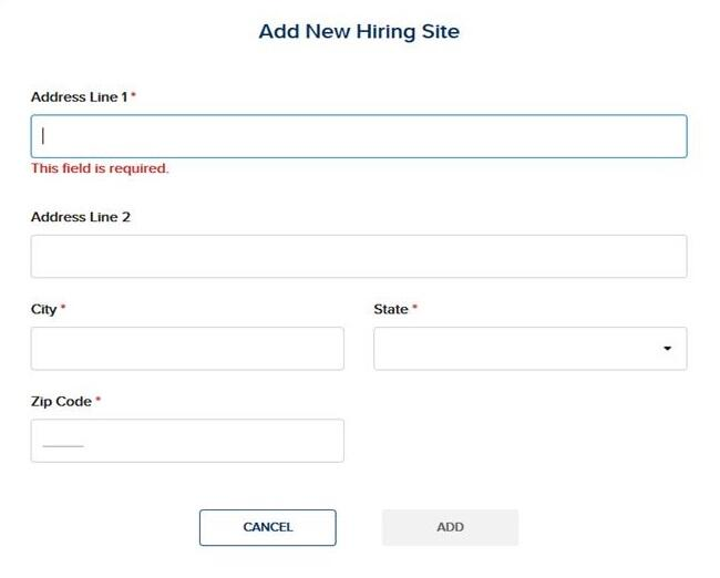 "screen capture showing ""Address"" required fields under the Add New Hiring Site page"