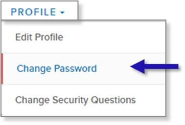 screen capture of left nav PROFILE menu showing the Change Password menu option