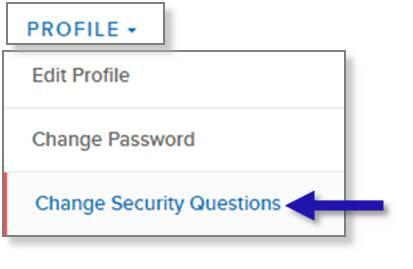 screen capture of left nav PROFILE menu showing the Change Security Questions menu option