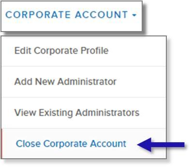 screen capture of left nav CORPORATE ACCOUNT menu showing the Close Corporate Account menu option