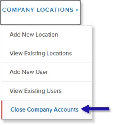 screen capture of left nav menu showing the Close Company Accounts menu option
