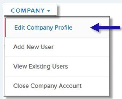 screen capture of left nav COMPANY menu showing the Edit Company Profile menu option