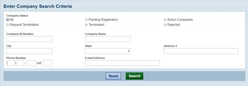 screen capture of the Enter Company Search Criteria page