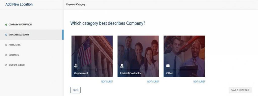 "screen capture showing ""Which category best describes Company?"" Employer Category page"