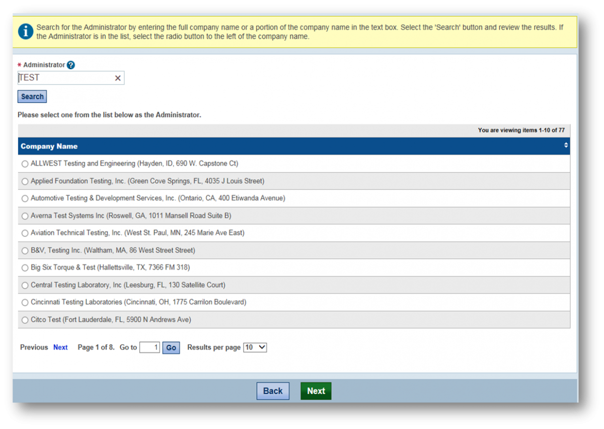 Screenshot of the Administrator Search Screen. A red arrow points to a radio button for a sample company account.
