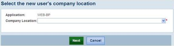 Screenshot of the screen to select the new user's company location.