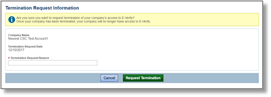 Screenshot of the termination request screen.