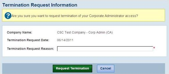 Screenshot of theTermination Request screen.