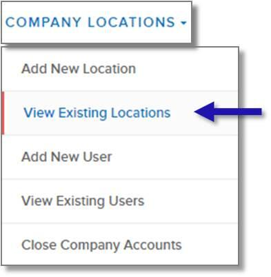 screen capture of left nav menu showing the View Existing Locations menu option