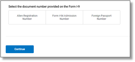 "screen capture showing ""Select the document number provided on the Form I-9"""