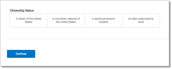 "screen capture showing ""Enter the employee's Form I-9 information"" citizenship statussecond page"