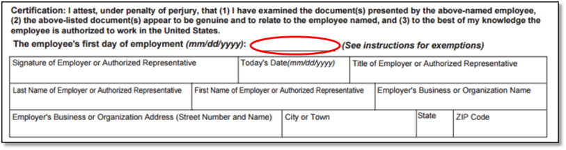 screen capture of Section 2 of Form I-9 Certification of hire date