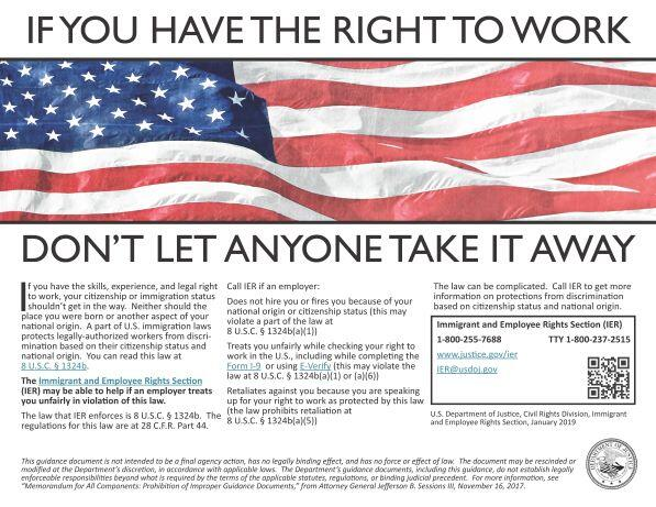 IER Right to Work Poster