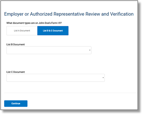 "screen capture showing ""Employer or Authorized Representative Review and Verification"" List B and C"