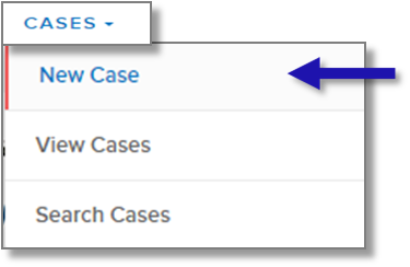 "screen capture showing ""New Case"" menu item"