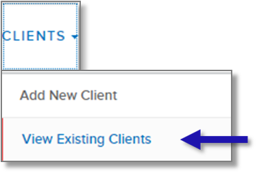 Screenshot of Clients navigation tab highlighting View Existing Client