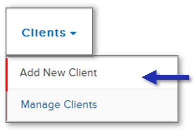 Screenshot of Clients navigation tab highlighting Add New Client