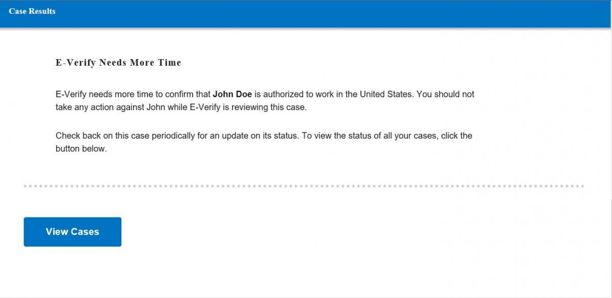 Screen shot of E-Verify screen with Verification in Process case result.